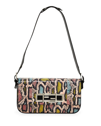 New Baguette Shoulder Bag, Pink/Blue/Yellow