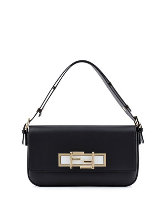 New Baguette Shoulder Bag, Black/White
