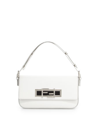 New Baguette Shoulder Bag, White/Black