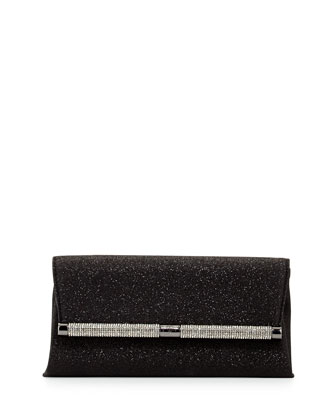 440 Glitter Envelope Clutch Bag, Deep Black