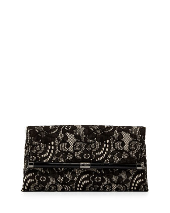 440 Lace Envelope Clutch Bag, Black/Nude