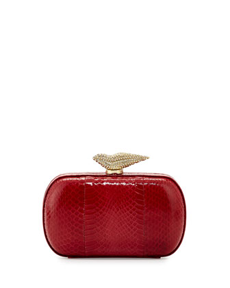 Flirty Snakeskin Minaudiere, Red
