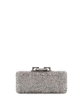 Sutra-Clasp Crystal Minaudiere Bag, Pewter