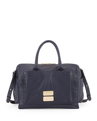 Nellie Leather Satchel Crossbody Bag, Midnight