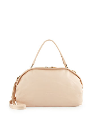 Bluebell Leather Shoulder Bag, Nude
