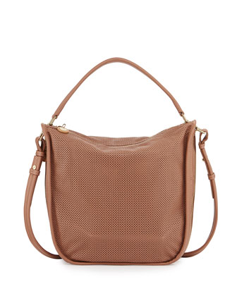Star Perforated Leather Hobo Bag, Nougat