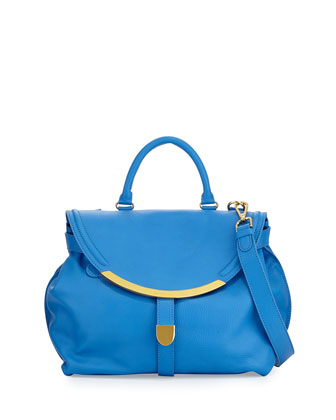Lizzie Leather Satchel Bag, Californian Blue