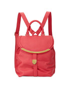 Lizzie Grained Leather Backpack, Pink
