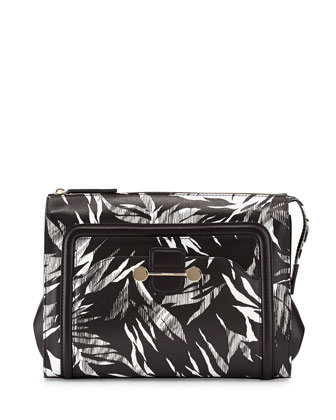 Daphne 2 Tropical-Print Clutch Bag, Black
