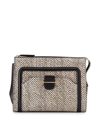 Daphne 2 Watersnake Clutch Bag, Nude/Black