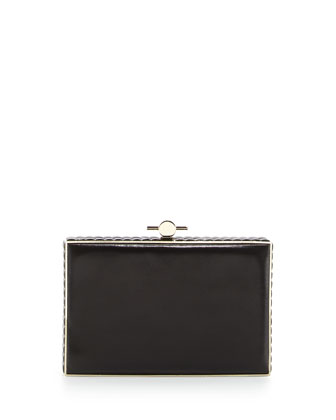 Karlie Crystal & Leather Box Clutch Bag, Black