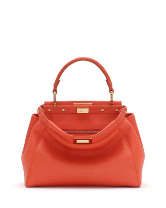 Peekaboo Mini Leather Satchel Bag, Orange