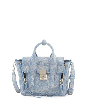 Pashli Mini Satchel Bag, Periwinkle/Cream Iridescent