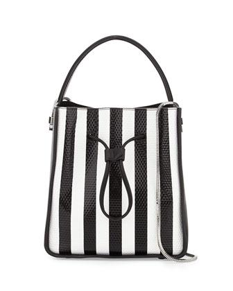 Soleil Small Bucket Drawstring Bag, White/Black