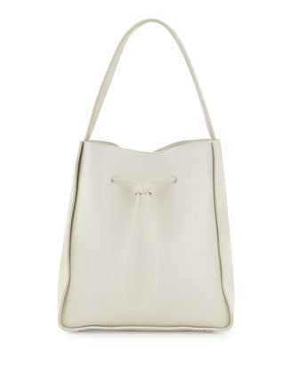 Soleil Large Drawstring Bucket Bag, Off White