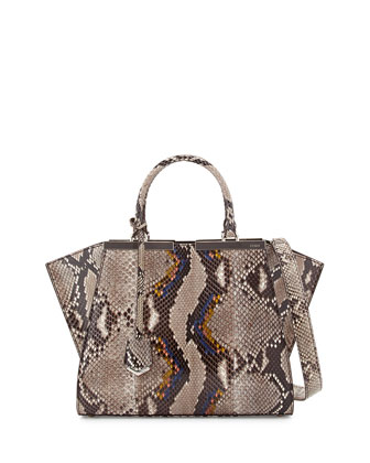 Trois-Jour Mini Python Shopping Tote Bag, Neutral