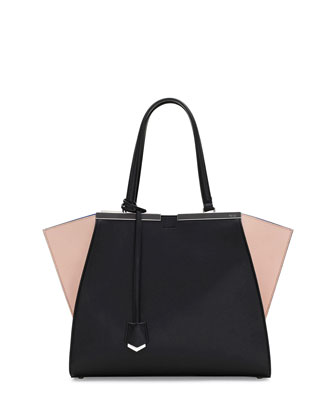 Trois-Jour Mini Tricolor Shopping Tote Bag, Black/Nude/Blue
