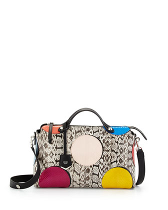 By The Way Medium Dotted Snakeskin Satchel Bag, Natural/Multi