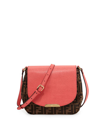 Zucca Small Crossbody Bag, Brown/Pink
