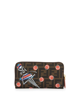 Girl-Print Zucca Zip Wallet, Brown Multi