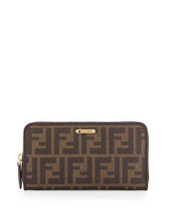 Zucca Continental Zip Wallet, Brown Multi