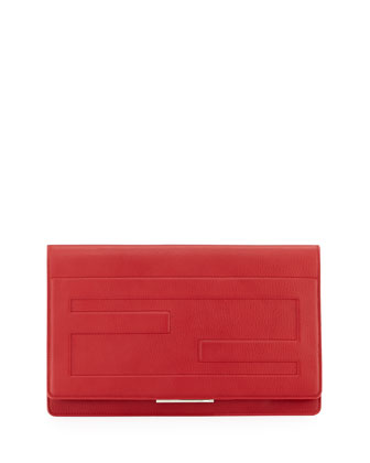 Tube Macro Leather Clutch Bag, Red