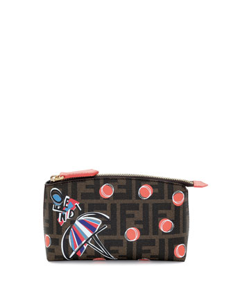 Girl-Print Zucca Cosmetic Case, Brown Multi