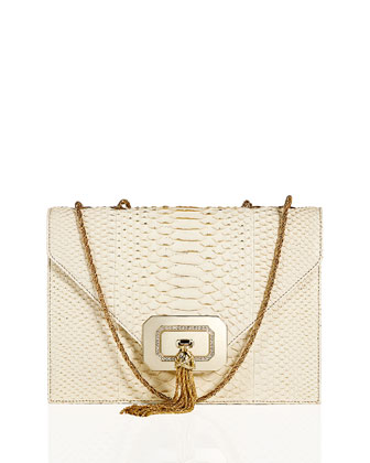 Casati Python Tassel Shoulder Bag, Ivory