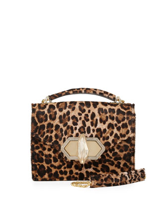 Mini Daphnei Calf Hair Crossbody Bag, Leopard