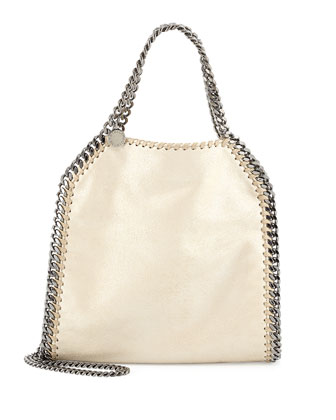 Falabella Mini Fold-Over Tote Bag, Metallic Beige