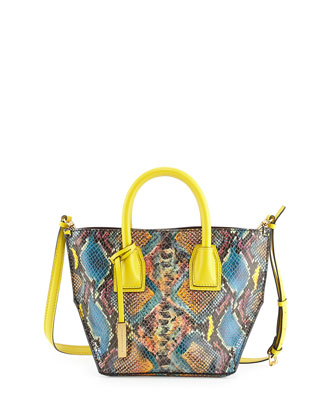 Cavenish Faux-Python Mini Tote Bag