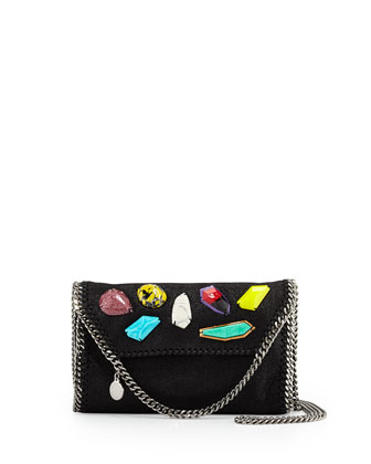 Falabella Stone Embellishment Mini Bag, Black