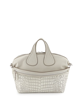 Nightingale Medium Stamped Crocodile Satchel Bag, Off White