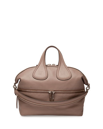Nightingale Medium Leather Satchel Bag, Linen
