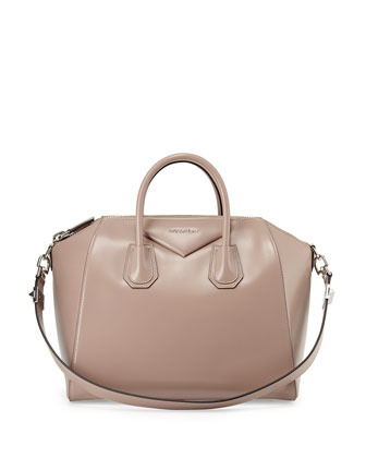 Antigona Medium Leather Satchel Bag, Linen