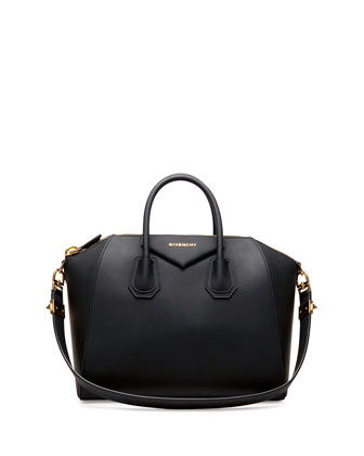 Antigona Rubber-Effect Medium Satchel Bag, Black