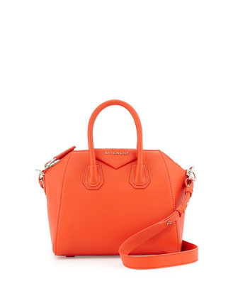 Antigona Mini Leather Satchel Bag, Burnt Orange