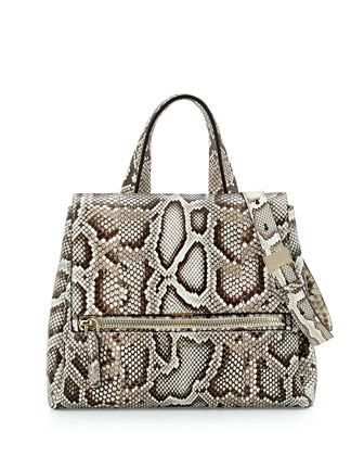 Pandora Small Python Satchel Bag, Natural