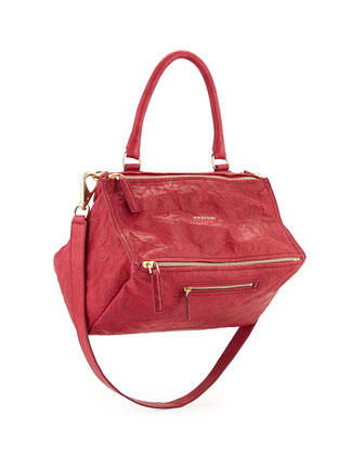 Pandora Medium Leather Shoulder Bag, Cherry