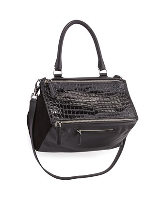 Pandora Medium Leather Satchel Bag, Black