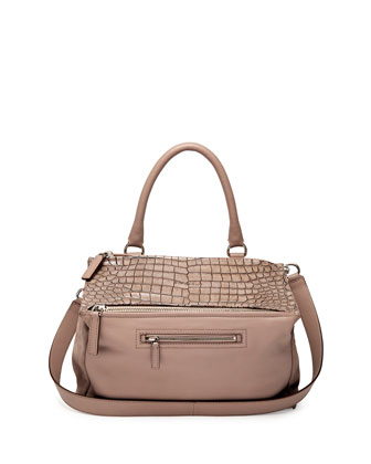 Pandora Croc-Stamped Medium Satchel Bag, Linen