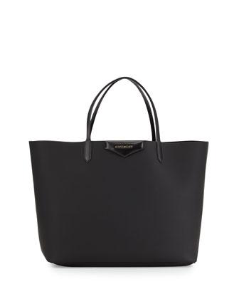 Antigona Large Leather Shopping Tote, Black