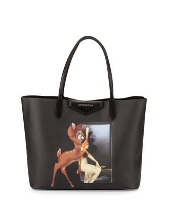 Antigona Small Leather Shopping Tote, Bambi Print