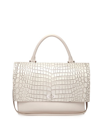 Croc-Stamped Medium Shark-Lock Satchel Bag, Off White