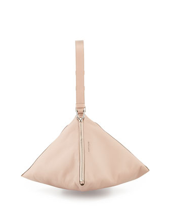 Triangle Large Leather Clutch Bag, Pale Pink