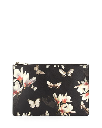 Medium Leather Zip Pouch, Magnolia Print
