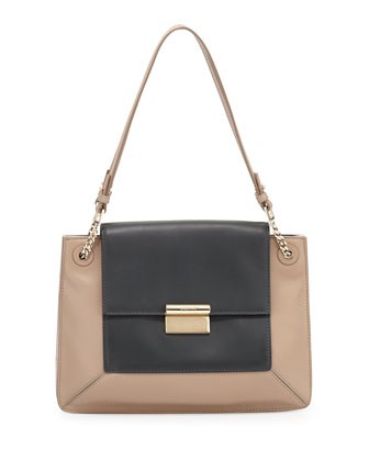 Christy Bicolor Shoulder Bag, Charcoal