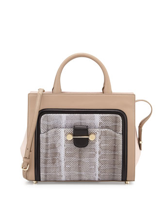 Daphne Leather & Snake Crossbody Bag, Beige