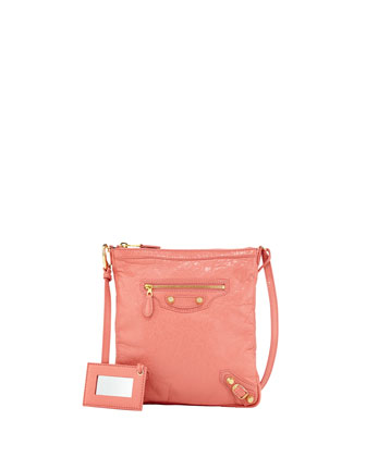 Giant 12 Golden Flat Crossbody Bag, Rose Azalee