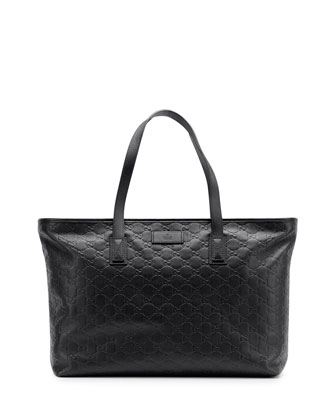 ssima Leather Tote Bag, Black